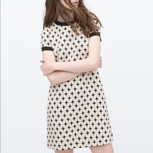 Zara geometric lightly textured short sleeve dress